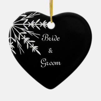 Black and White Snowflake Winter Wedding Christmas Ornament
