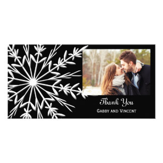 Black and White Snowflake Winter Wedding Thank You Picture Card