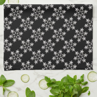 Black And White Snowflakes Christmas Holiday Xmas Tea Towel