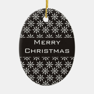 Black and White Snowflakes - Merry Christmas! Christmas Ornament