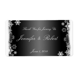 Black and White Snowflakes Wedding Water Label Shipping Label