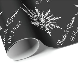 Black and White Snowflakes Winter Wedding Wrapping Paper