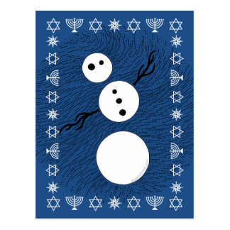 Black And White Snowman Personalized Hanukkah Post Cards