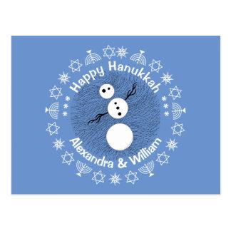 Black And White Snowman Personalized Hanukkah Postcard