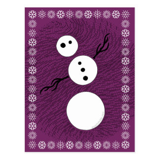 Black And White Snowman Winter Christmas Holiday Post Card