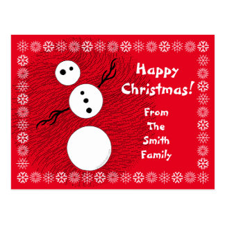 Black And White Snowman Winter Christmas Holiday Post Cards