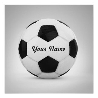 Black and White Soccer Ball Personalized Name Poster