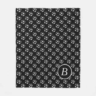 Black and White Soccer Balls Monogram Fleece Blanket
