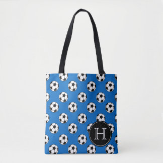 Black and White Soccer Balls on Blue Monogram Tote Bag
