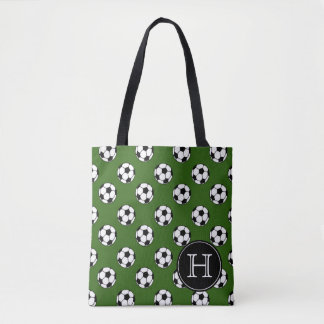 Black and White Soccer Balls on Green Monogram Tote Bag