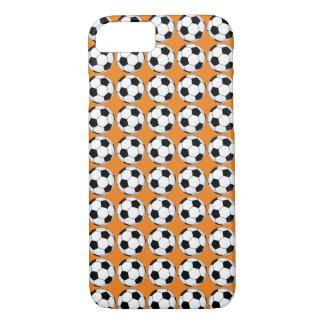 Black and White Soccer Balls on Orange iPhone Case