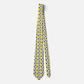 Black and White Soccer Balls on Yellow Tie