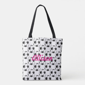 Black and White Soccer Balls with Name Tote Bag