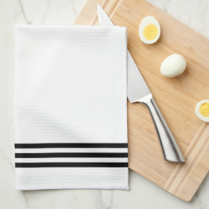 Black and White Sophisticated Stripes and Monogram Tea Towel