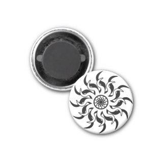 Black And White Southwest Tribal  Sun 3 Cm Round Magnet