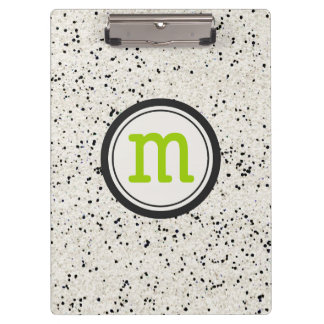 Black and white speckled Clipboard with Monogram