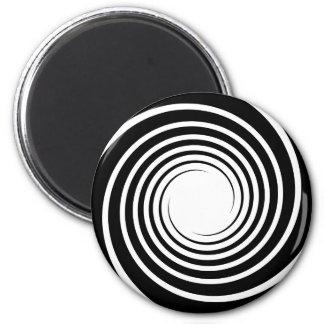 Black and White Spiral Design. 6 Cm Round Magnet