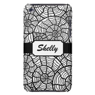 Black and White Spiral Shells Custom Monogram iPod Touch Case-Mate Case