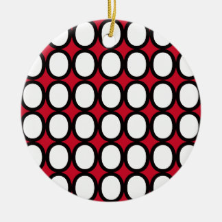 Black and White Splash of O's With Red Christmas Ornament