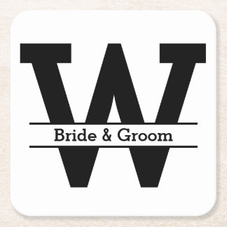 Black and White Split Monogram Wedding Square Paper Coaster
