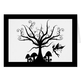 Black and White Spooky Fairy Birthday Card