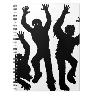 Black and White Spooky Halloween Figures Spiral Notebook