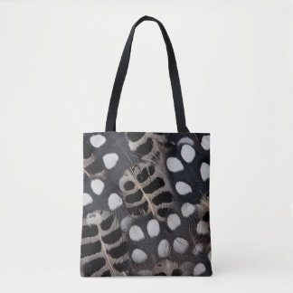 Black And White Spotted Feathers Tote Bag