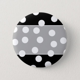 Black and White Spotty Design. 6 Cm Round Badge