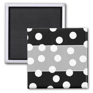 Black and White Spotty Design. Square Magnet