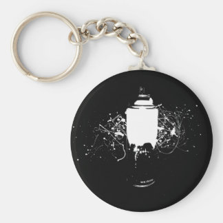 Black and White Spray Paint Can Splatter Art Basic Round Button Key Ring