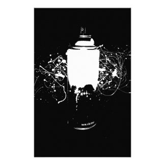 Black and White Spray Paint Can Splatter Art Personalized Stationery