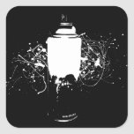 Black and White Spray Paint Can Splatter Art Square Sticker