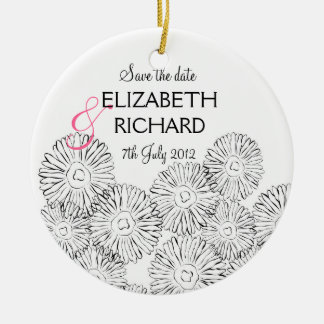 """Black and white spring flowers """"Save the date"""" Christmas Ornament"""