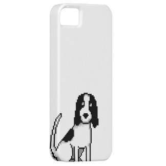 Black and White Springer/cocker Spaniel (pixel dog iPhone 5 Cases
