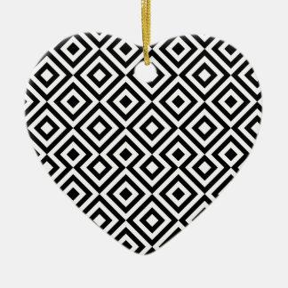 Black And White Square 001 Pattern Ceramic Heart Decoration