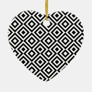 Black And White Square 001 Pattern Christmas Ornament