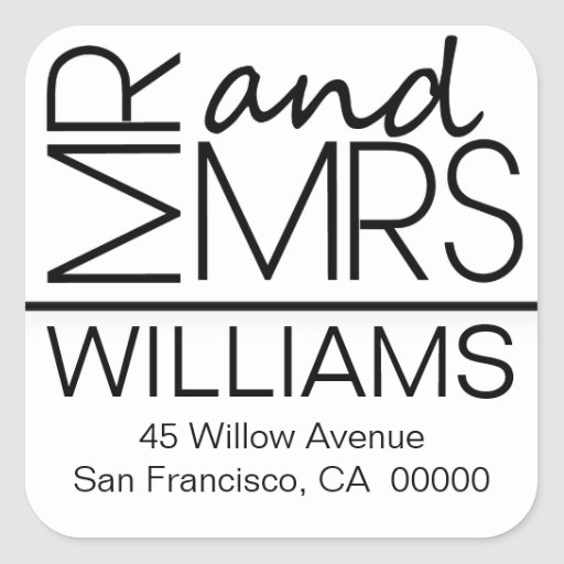 Black And White Square Address Labels Mr And Mrs Square Stickers