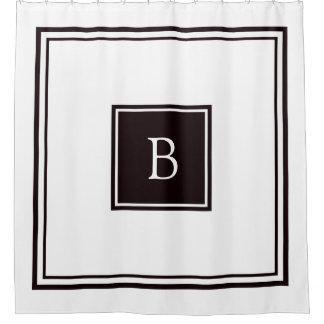 Black and White Square Frame Monogram Shower Curtain