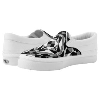 Black and White Square Pattern Printed Shoes