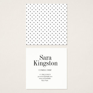 Black and White Square Polka Dot Business Card
