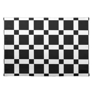 Black and White Square Tile Cloth Placemat