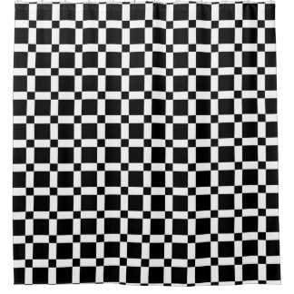 Black and White Square Tile Shower Curtain