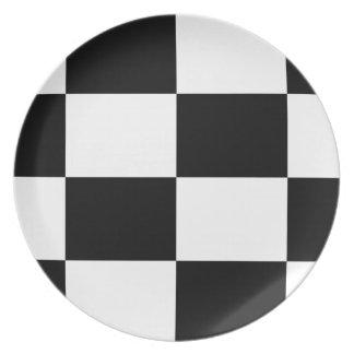 Black And White Squared Design Plate