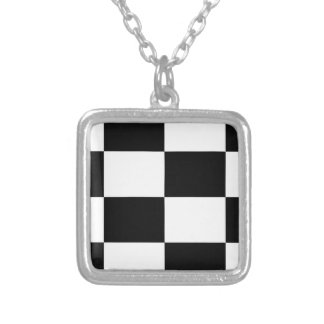 Black And White Squared Design Silver Plated Necklace