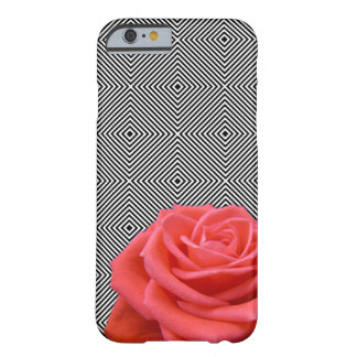 Black and White Squares and Pink Rose Barely There iPhone 6 Case