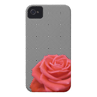 Black and White Squares and Pink Rose Case-Mate iPhone 4 Cases