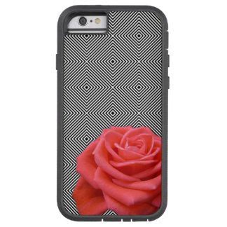 Black and White Squares and Pink Rose Tough Xtreme iPhone 6 Case