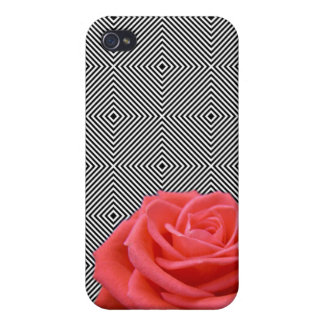 Black and White Squares and Pink Rose Case For iPhone 4