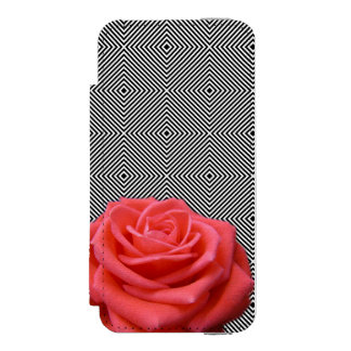 Black and White Squares and Pink Rose Incipio Watson™ iPhone 5 Wallet Case