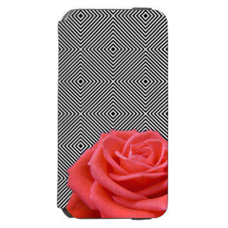 Black and White Squares and Pink Rose Incipio Watson™ iPhone 6 Wallet Case